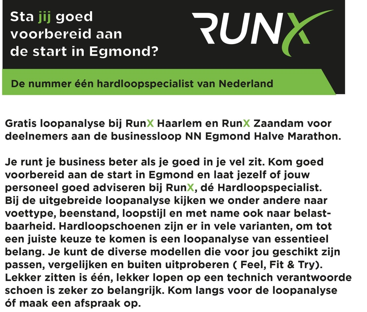 Nieuwsbrief businessteams tekst websiteRunX